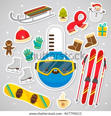 Stickers Cute Thermometer Collection Winter Symbols Stock Vector