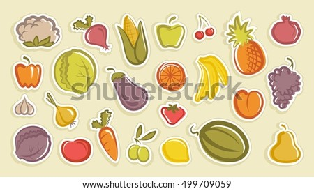 Stickers with drawings of fruit and vegetables