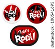 Stickers with Let's Rock!. Vector illustration. - stock vector