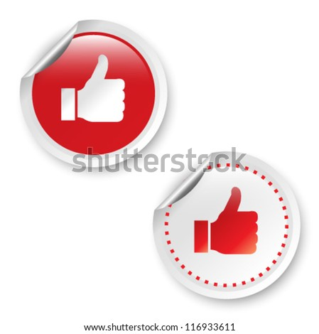 Stickers with Like. Vector illustration. - stock vector