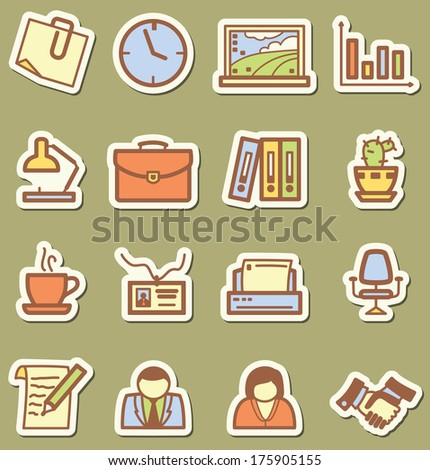 Stickers with minimalistic office icons set
