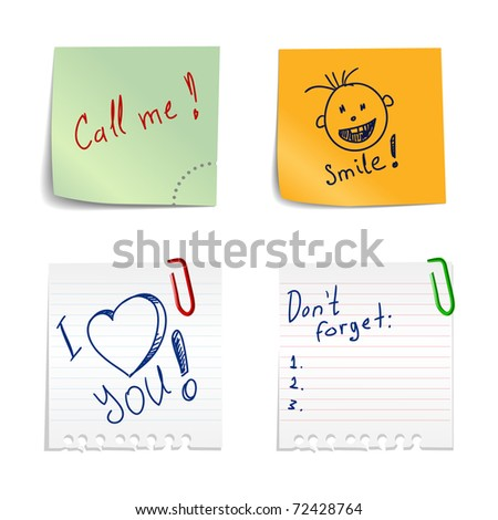 Stickers with notes - stock vector