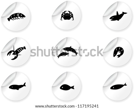 Stickers with ocean life icons 2 - stock vector