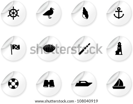 Stickers with seaside icons - stock vector