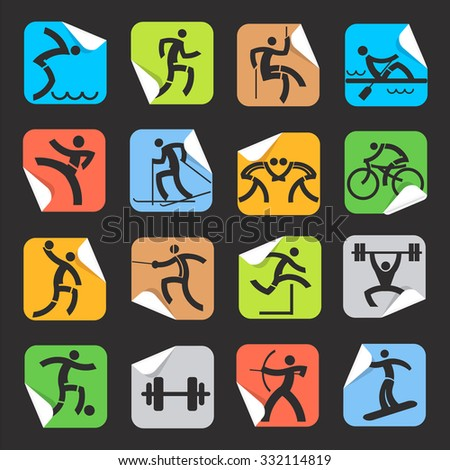 Stickers with sport icons. Set of colorful  Square Stickers on the black background with sport symbols. Vector