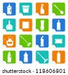 Stickers with the equipment for cleaning - stock vector