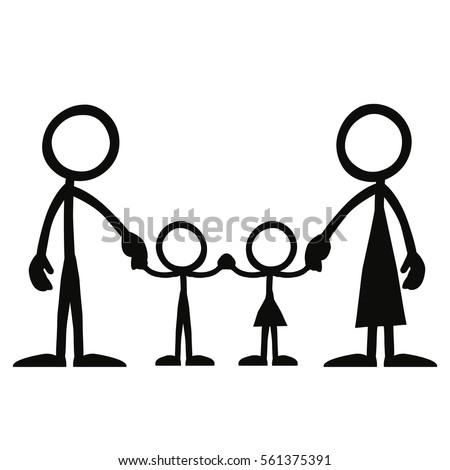 stickfigure family holding hands stock vector royalty free rh shutterstock com Stick Figure People Clip Art Stick Figure Clip Art Microsoft