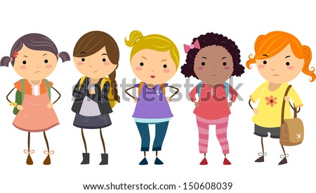 Stickman Illustration Featuring a Group of Young Female Bullies - stock vector