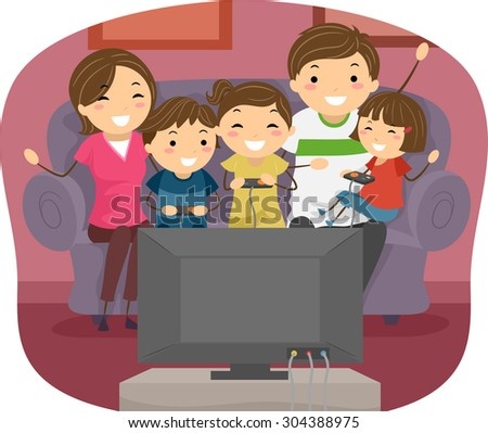 Stickman Illustration of a Family Playing Video Games Together - stock vector