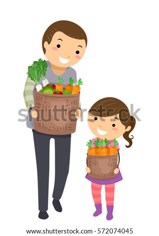 Stickman Illustration of a Father and Daughter Walking Home After Shopping for Groceries Together