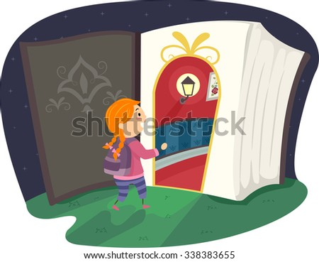 Stickman Illustration of a Little Girl About to Enter a Magical Portal - stock vector
