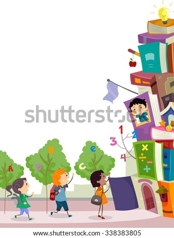 Stickman Illustration of Kids About to Enter a School Made from Stacked Books - stock vector