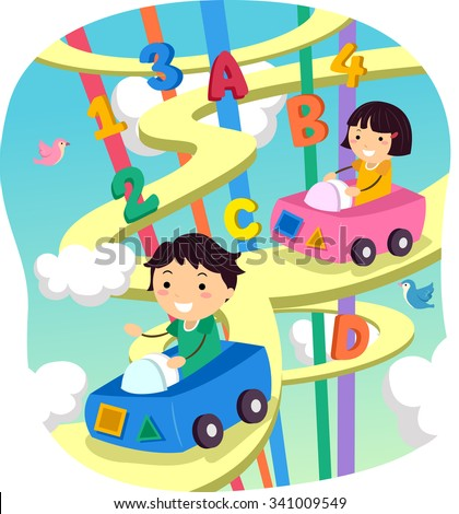 Stickman Illustration of Kids Driving on a Whimsical Highway - stock vector
