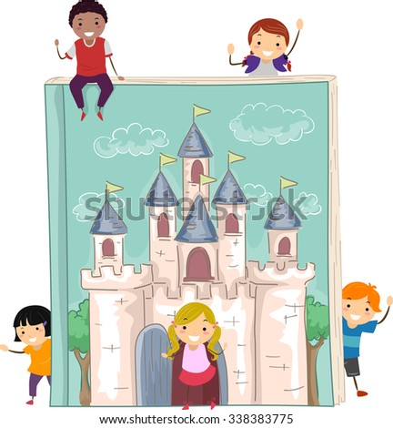 Stickman Illustration of Kids Gathered Around a Giant Storybook - stock vector