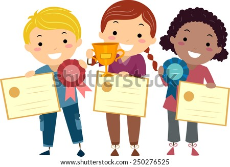 Stickman Illustration of Kids Holding Certificates, Ribbons, and a Trophy - stock vector