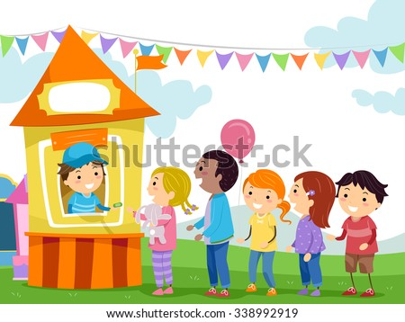 Stickman Illustration of Kids Lining Up at the Ticket Booth - stock vector