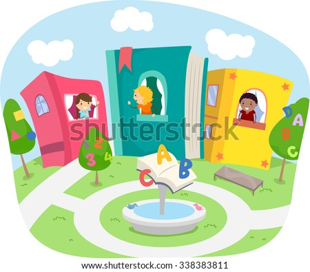 Stickman Illustration of Kids Living in a Neighborhood with Houses Made of Books - stock vector