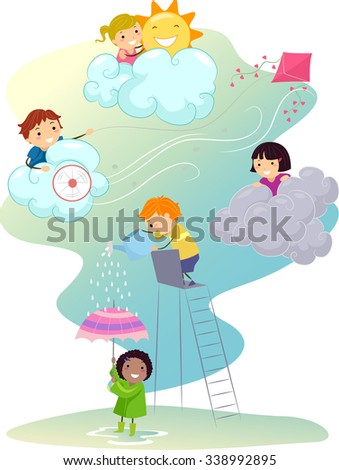 Stickman Illustration of Kids Playing in Different Weather Types - stock vector