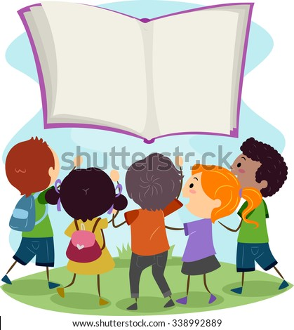 Stickman Illustration of Kids Reaching Out to a Floating Book - stock vector