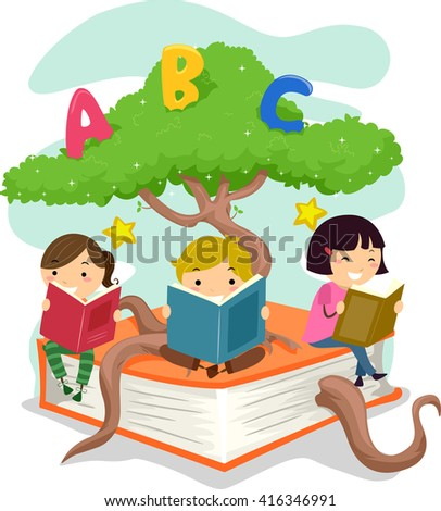 Stickman Illustration of Kids Reading Books While Sitting on a Tree Branch - stock vector