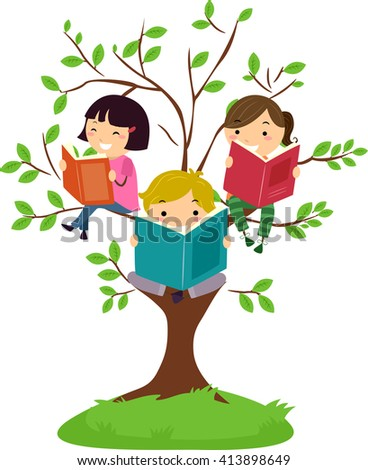 Stickman Illustration of Kids Reading Books While Sitting on Tree Branches - stock vector