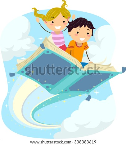 Stickman Illustration of Kids Riding a Magical Flying Book - stock vector