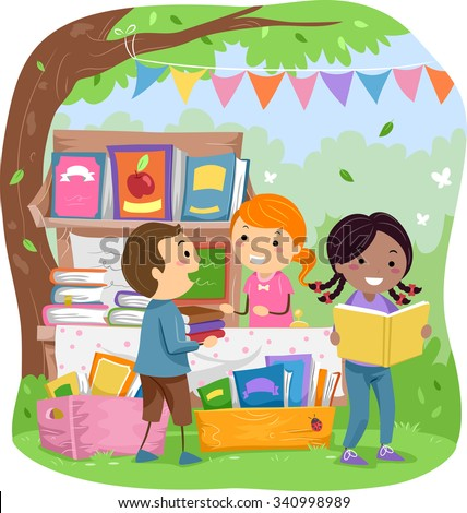Stickman Illustration of Kids Selling Books in a Park - stock vector