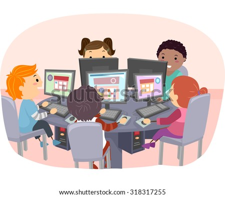 Stickman Illustration of Kids Using Computers - stock vector