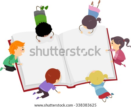 Stickman Illustration of Little Kids Reading a Big Book - stock vector