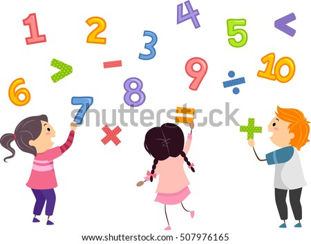 Stickman Illustration of Preschool Kids Playing with Numbers and Mathematical Symbols