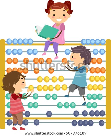Stickman Illustration of Preschool Kids Using a Giant Abacus to Perform Basic Arithmetic