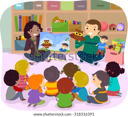 Stickman Illustration of School Kids Listening to a Story Narrated by Puppets - stock vector