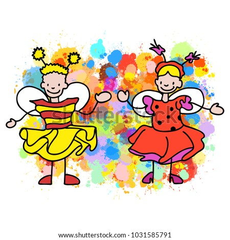 Stickman Kids Bee and Ladybug, Hand-drawn sketches doodles in beautiful outfits and costumes. Happy childhood icons.