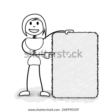 Stickman promoting with blank information board. Concept image for several business ideas