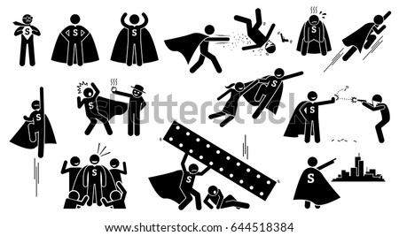 Stickman Super Human Superhero Cliparts Depict Stock Vector Royalty