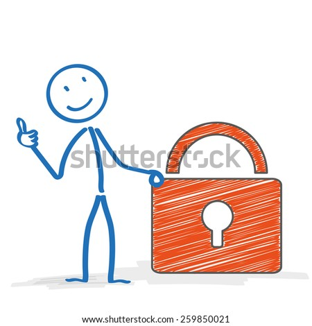 Stickman with D-Lock on the white background. Eps 10 vector file. - stock vector