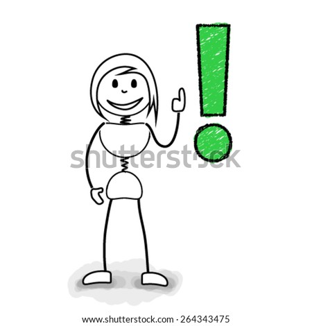 Stickman with exclamation mark. Concept image for creative business ideas
