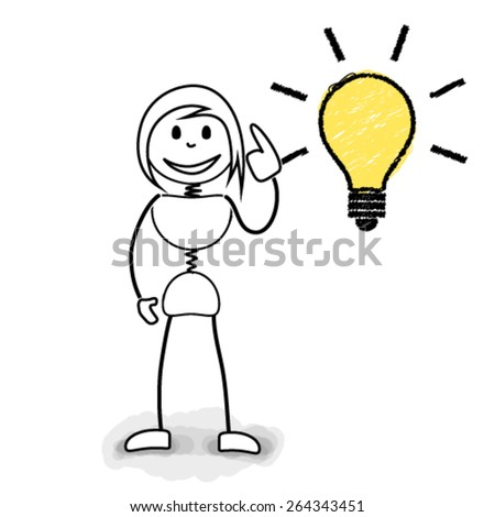 Stickman with light bulb representing great ideas. Concept image for creative business ideas.