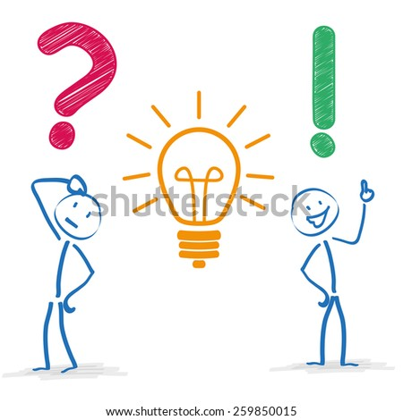 Stickman with question, bulb and answer on the white background. Eps 10 vector file. - stock vector