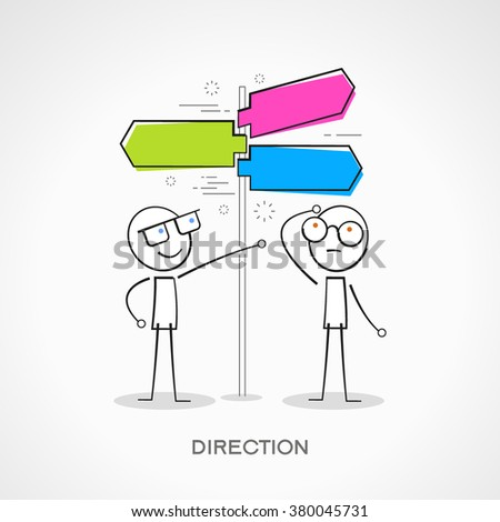Stickmans with signpost. Doodle vector illustration.  The file is saved in the version 10 EPS. - stock vector