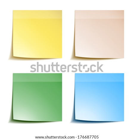 Sticks note paper on white background - stock vector