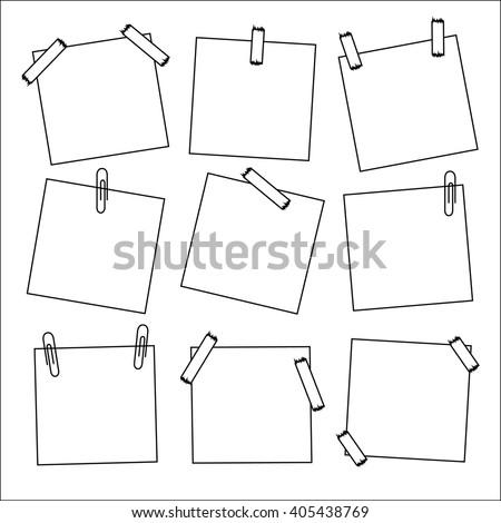Sticky memo post note isolated memo post on white memo background . Vector illustration memo post. Thin modern line. Nine memo - stock vector