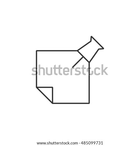 Sticky note icon in thin outline style. Reminder schedule message teamwork office supplies