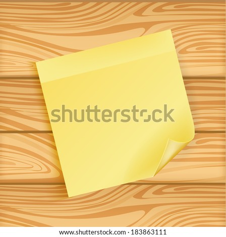 sticky note on wooden background isolated  - stock vector
