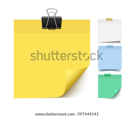 Sticky note paper. Realistic vector illustration of post it paper pieces. Memo, reminder paper.  - stock vector