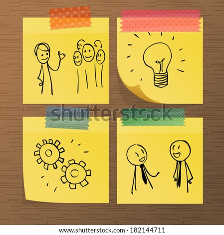 Sticky note paper with doodles - stock vector