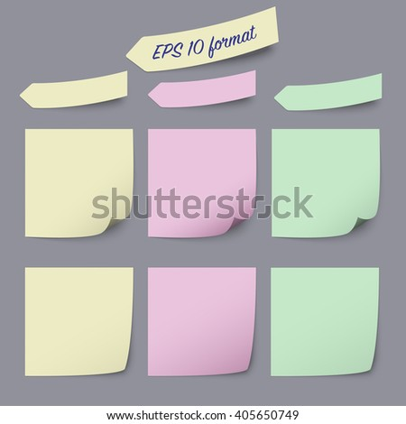 Sticky notes annotations template - set of three kind of notes in different colors, vector illustration eps 10
