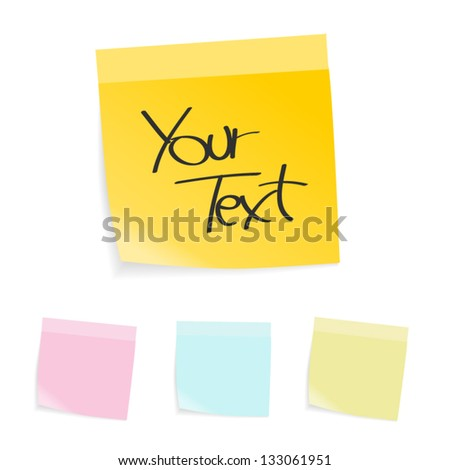 Sticky notes, four different colors - stock vector