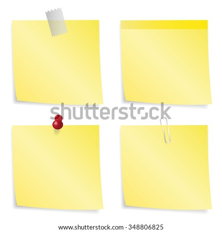 Sticky Notes - Set of yellow sticky notes isolated on white background.  Vector illustration - stock vector