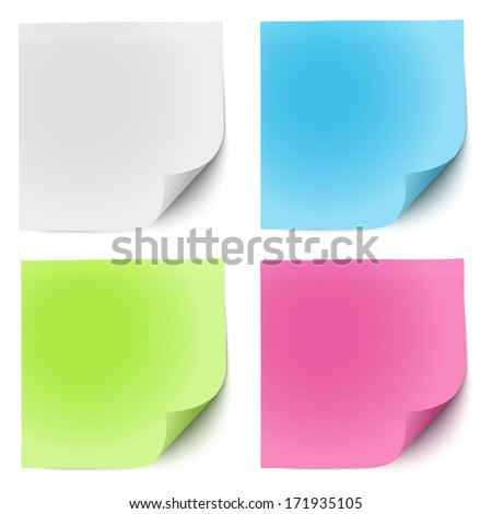 Sticky notes white, green, pink and blue - stock vector